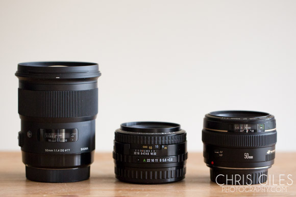 Battle of the normal lenses. Sigma 50mm Art 1.4, Pentax 75mm 2.8, Canon 50mm 1.4. You could argue that the 55mm SDM would of been a better fit than the 75mm but the 75 was a standard kit lens for years and I'm respecting that as a normal lens instead of the 55.