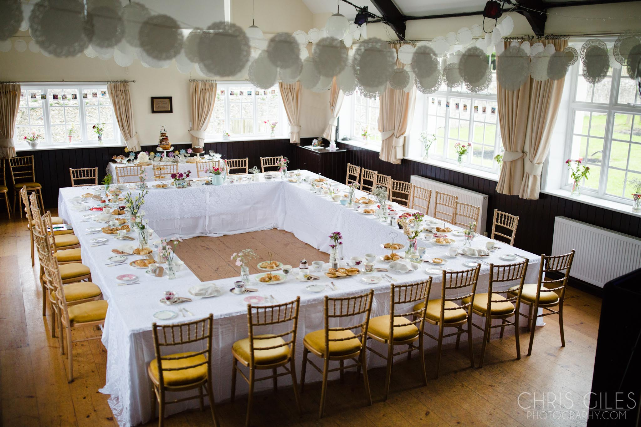 Tables inside Iford Village Hall