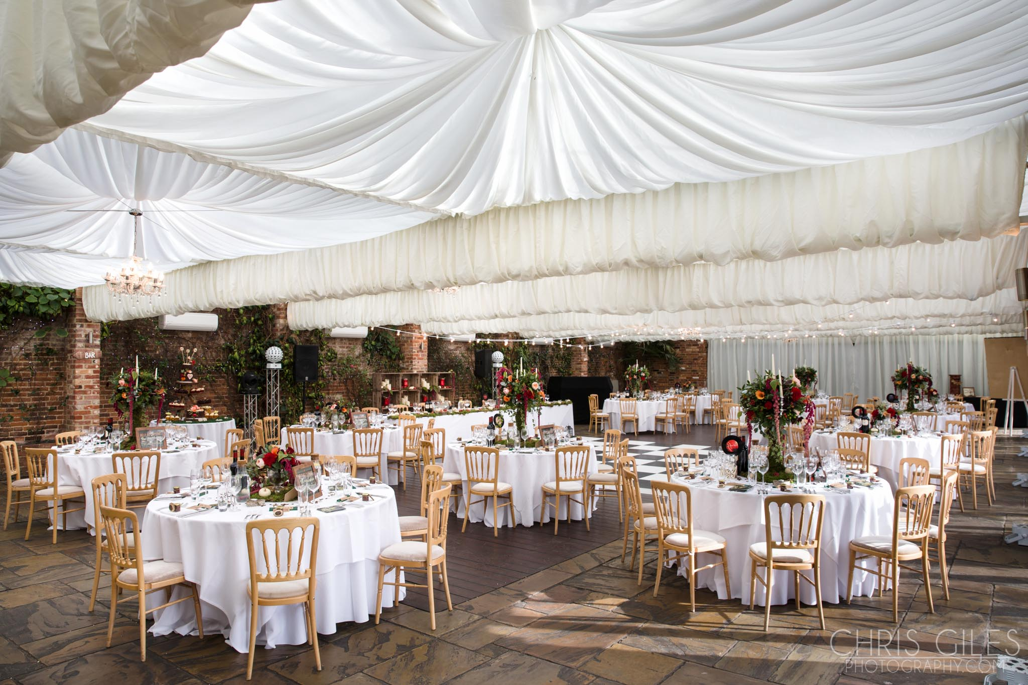 Northbrook Park Orangery set up for a wedding