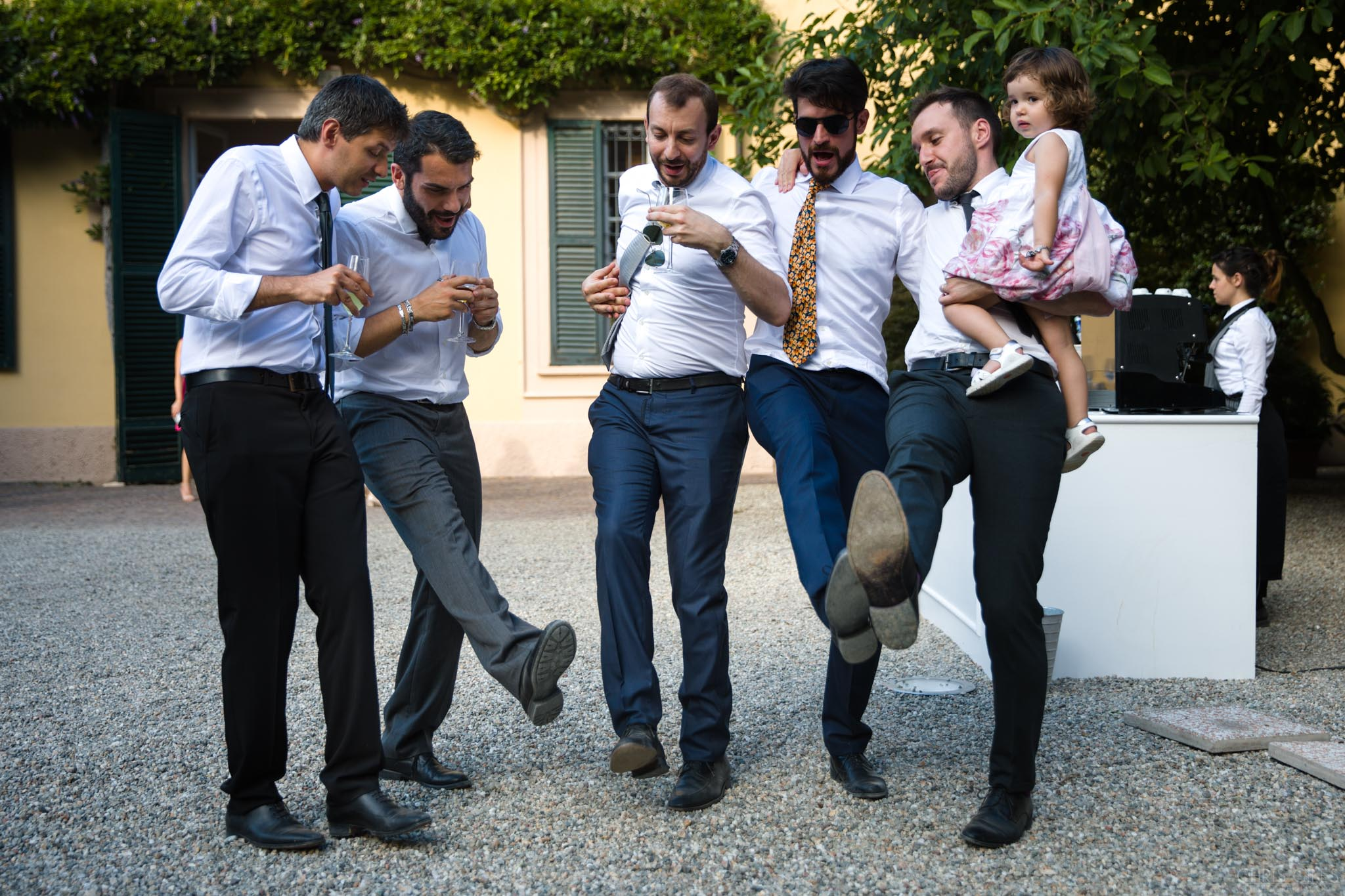 Drunk italian wedding guests