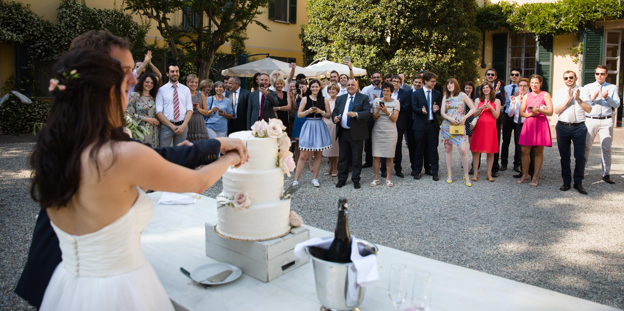 Guests watching the cake cutting in Italy