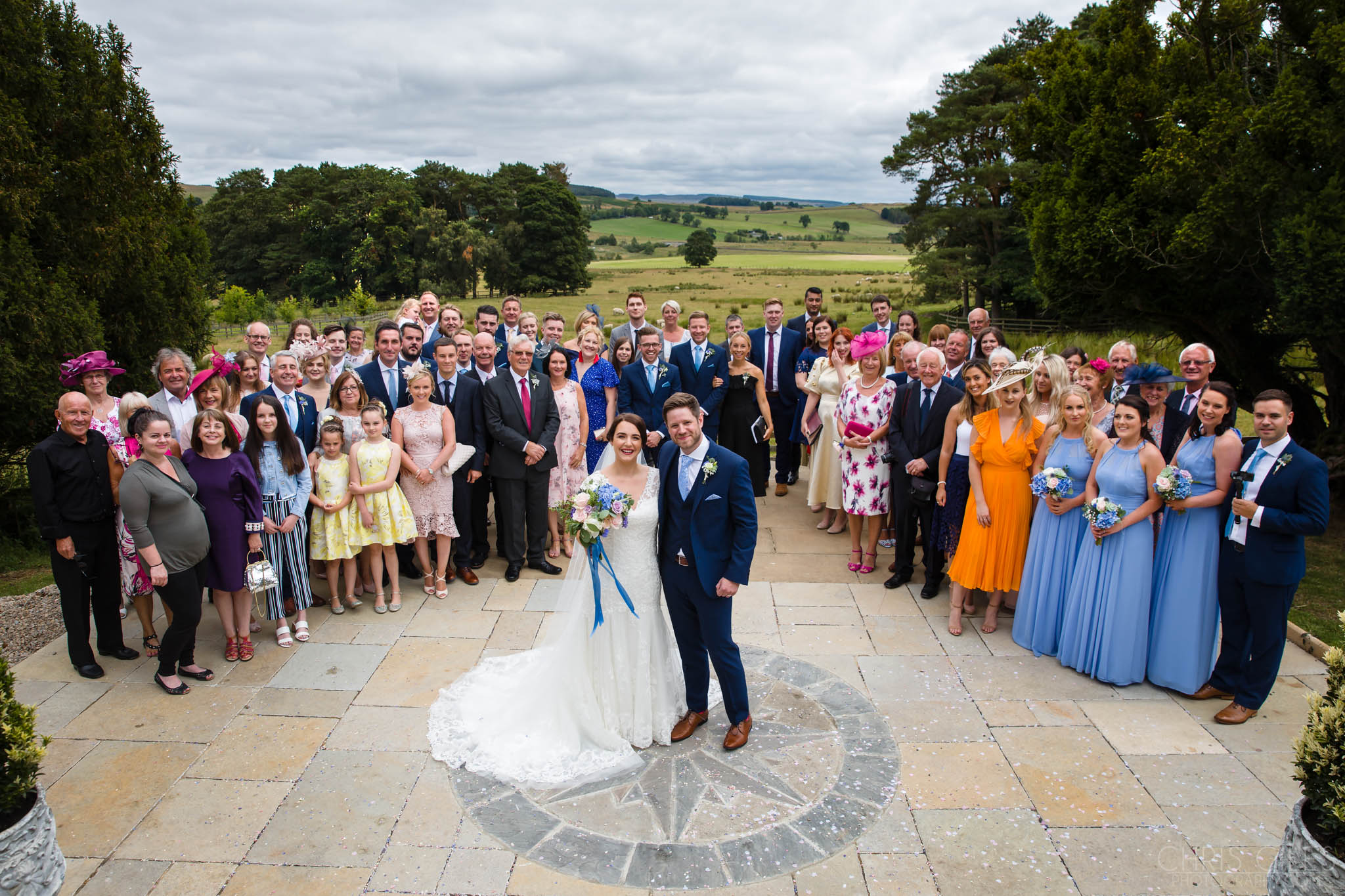 Wedding party group photo at Woodhill Hall