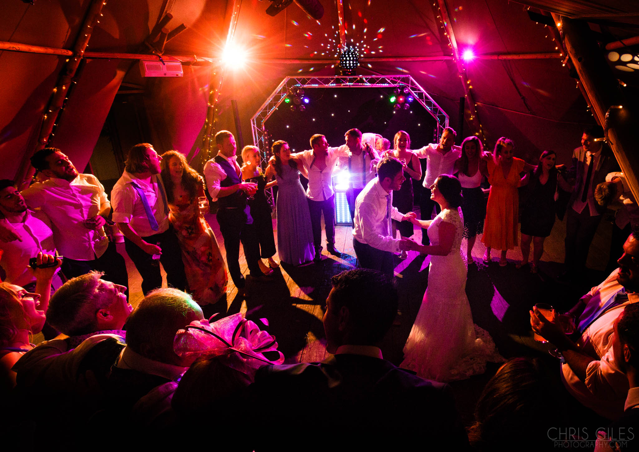 The Dancfloor inside the Tipi at Woodhill Hall