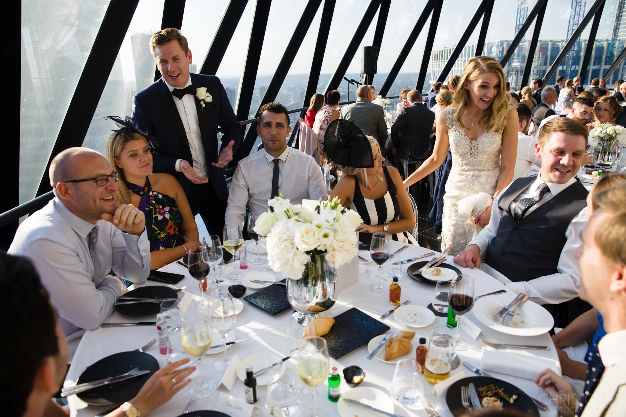 Wedding reception at The Gherkin London, dining room, wedding breakfast