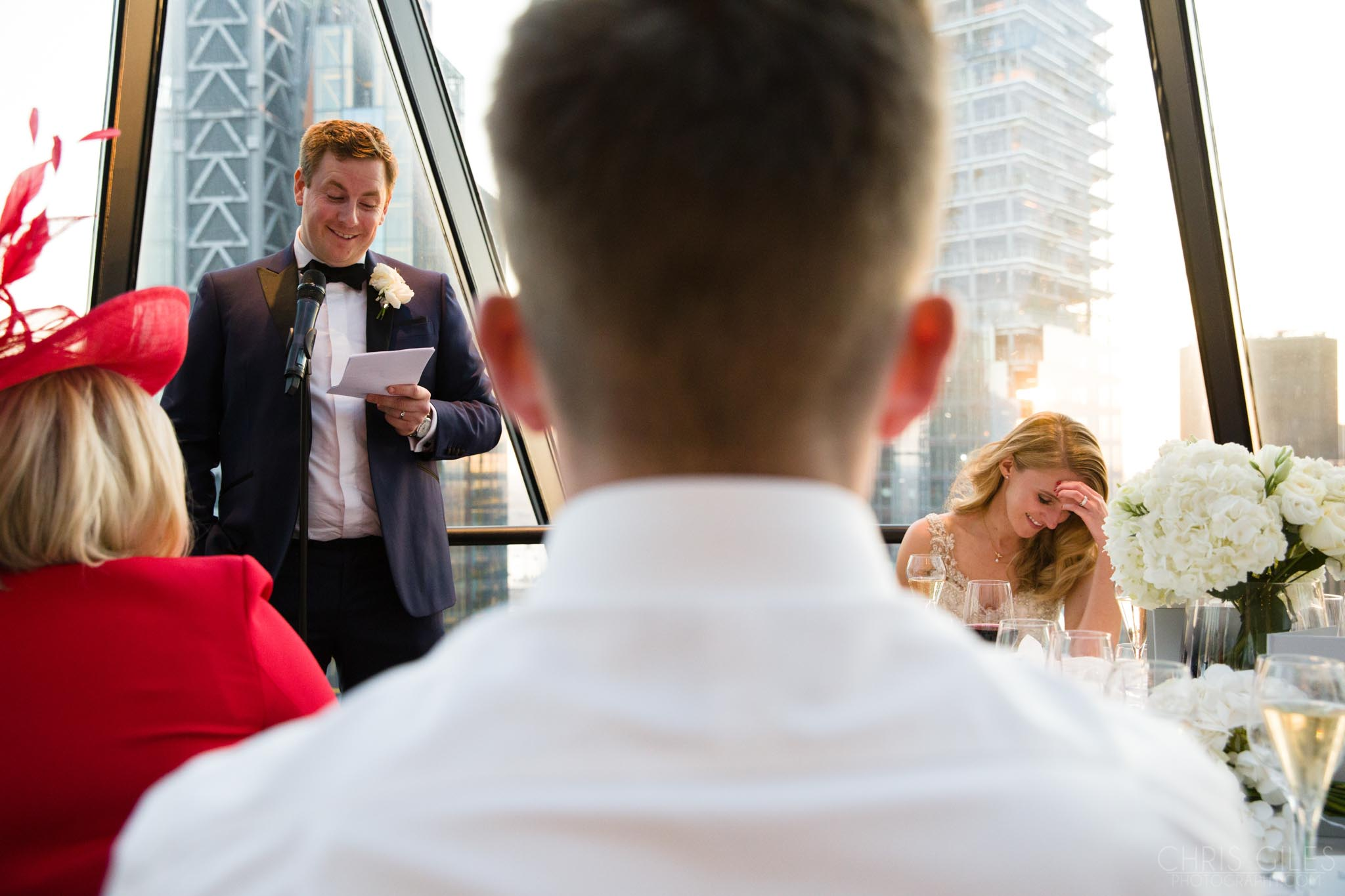 wedding speeches at The Gherkin London, dining room, wedding breakfast